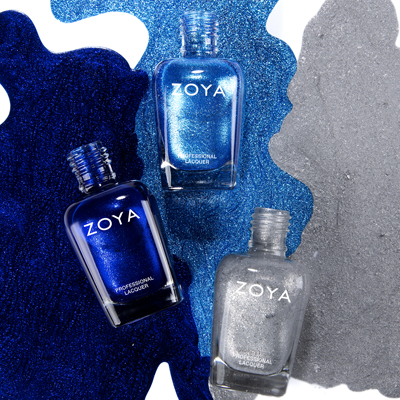 Zoya Holiday Trio 1 showing two blue colors and a silver