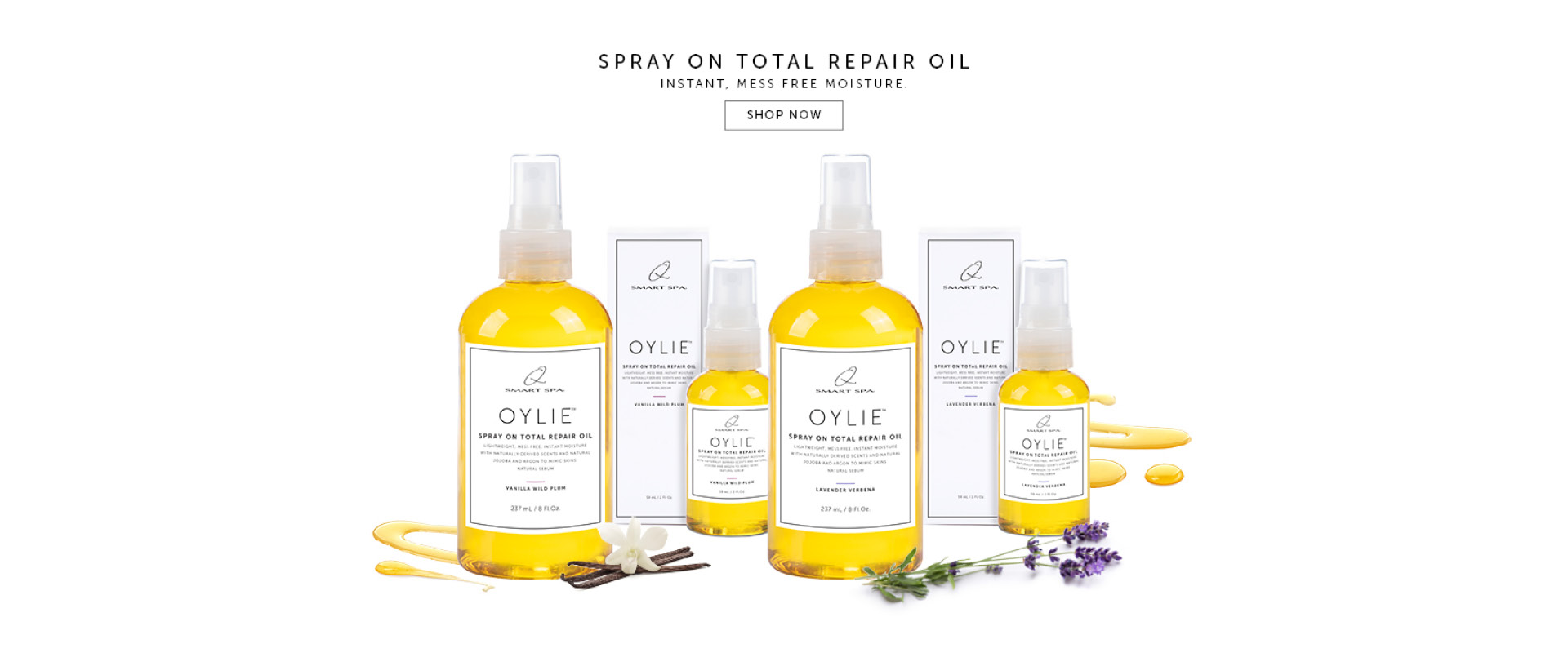 Oylie Spray on total repair oil. Instant Mess Free Moisture. Shop Now